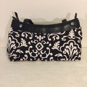 "thirty-one black and white ""Skirt"" purse"